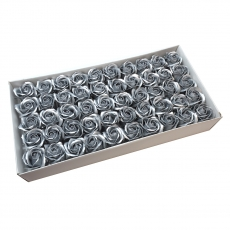 Set of 50 fragrant soap roses, real touch, silver