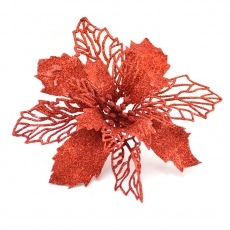 Christmas ornament with red glitter 15cm plastic